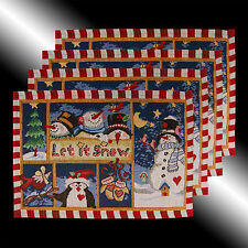 SET OF 4 VINTAGE NEW CHRISTMAS BLUE SNOWMAN TAPESTRY PARTY TABLE LINEN PLACEMATS