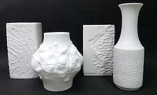 4 x Vasen @ Bisquittporzellan @ Hutschenreuther Kaiser Rosenthal @ Relief Fossil