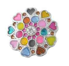 3D Multicolor Heart  Drill Snaps Chunk Charm Button Fit  Leather Bracelets