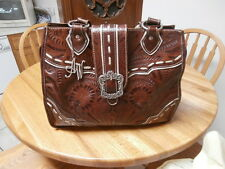 American West Brown Hand Tooled Leather Purse