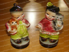 Wee Ching Girl with Kitten & Lin Asian Boy with Dog Oriental Children Figurines