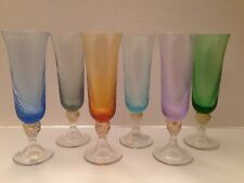 Set of 6 gemtone colored champagne Flutes Made in Italy
