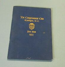 1937 Washington DC Congressional Club Yearbook Membership List Guy Gillette Iowa
