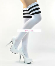 LA-6605 Roller Derby White Long Athletic Black Stripes Thigh Highs Stockings