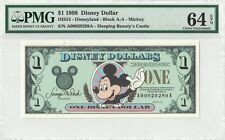 Disney Dollar 1998 $1 Mickey Mouse A00029289A PMG 64 EPQ Choice Unc