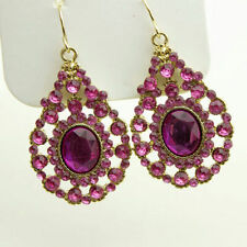 Bohemian Boho Style Purple Crystals Hollow Waterdrop Women Hook Earrings Jewelry