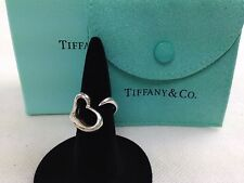 Authentic Tiffany & Co. Sterling Silver 925 Open Heart Ring US 3.5 5J060221#