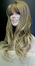 Long Blonde Auburn Blended & Platinum Tipped Wig w Layered Waves & Skin Part