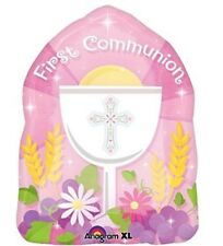 """Anagram International Blessed 1st Communion Pink Balloon, 18"""", Multicolor"""