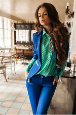 New Women Polka Dot Chiffon Long Sleeve Loose Tops Blouse Casual T Shirt