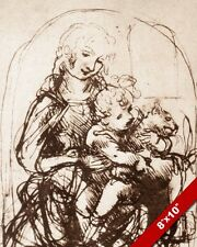 LEONARDO DA VINCI MARY JESUS & CAT PAINTING STUDY SKETCH REAL CANVAS ART PRINT
