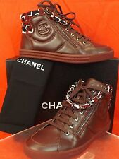 15K NIB CHANEL BURGUNDY TWEED LEATHER CC LOGO 2X ZIP CHAIN SNEAKERS 37.5 $1025