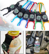 1pcs Compass Outdoors Camping Carabiner With Water Bottle Clip Holder Buckle Hot