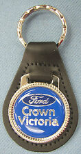 Dark Blue Ford CROWN VICTORIA Black Leather Keyring Top Oval 1955 1956 1957 1958
