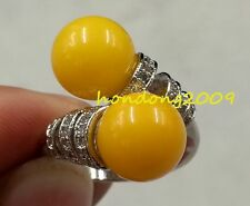 Genuine Natural 10mm round  Amber 925 Sterling Silver Ring Adjustable size