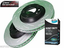 SLOTTED DRILLED FRONT DISC BRAKE ROTORS & BENDIX HEAVY DUTY PADS NAVARA D40 296m