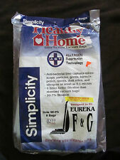 New Open Package (6 Bags) Genuine Healthy Home Vacuum Bags Eureka F & G (SE-FG)