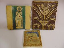 LOT of 3~ ARTS & CRAFTS Style 1974 Vtg. OOAK Decorative ART POTTERY TILES~UNIQUE