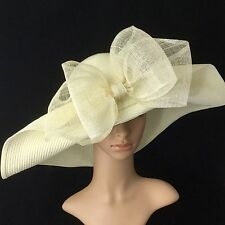 Ivory Kentucky Derby Hat with Sinamay Bow Wide Brim Dress Tea party Beach