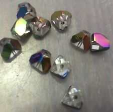 Vintage Czech Clear Base Rainbow Virtual Coated Pyramid Geometric Glass Bead Lot