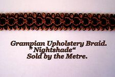 "Terracotta/Black Upholstery Braid ""Grampian Nightshade"" 18mm (sold by the Metre)"