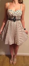 Little Mistress Black And Nude Polka Dot Dress Size 10 VGC