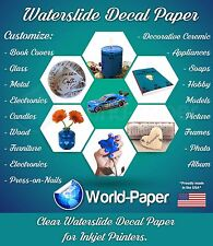 "Inkjet waterslide decal paper CLEAR, 8.5"" x 11"" 1 sheet :)"