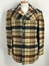 VTG Pendleton Wool Brown Plaid Rockabilly Car Coat Jacket Lined Men's Sz XL USA