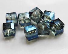 10mm 10pcs Faceted Square Cube Cut Glass Crystal Loose Spacer Charm Crafts Beads