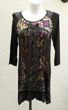 Tunique Noire Imprimé Multicolore Manches 3/4 La Mode Est A Vous Taille 4