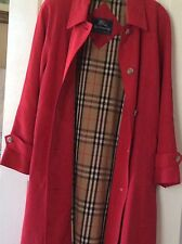BURBERRYS WOMENS LOOSE FIT PLAID LINED RED TRENCH COAT RAINCOAT