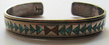 VINTAGE SIGNED AMERICAN INDIAN SILVER CHIP TURQUOISE CORAL CUFF BRACELET