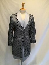 C.W. DESIGNS GORGEOUS Silk Dress and Duster/Coat-Blue/Black-Large