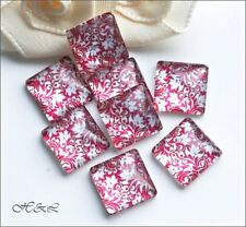 10 x Square Pink Red Glass 10mm x 10mm Vintage style Mini Flower Flatback Cabs