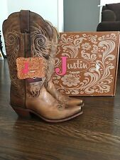 "Justin Women's Tan Damiana Fashion High Heel Western Cowboy Boots 13"" - Size 8 B"