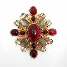 Vintage William deLillo Brooch Pin with Silver, Red and White Stones