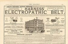 1887 ADVERT HARNESS' ELECTROPATHIC BELT THE MEDICAL BATTERY COMPANY BUILDING