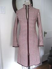 PATRIZIA PEPE Italy Houndstooth Wool Zip Topper Coat, Sz IT 40 / US 6