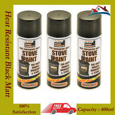 3 x 400ml Heat Resistant Matt Black Spray Paint Stove Exhaust High Temperature.