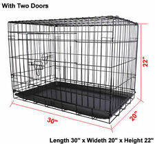 2 Doors 30''Wire Folding Pet Crate Dog Cat Cage Suitcase Kennel Playpen w/ Tray