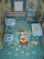 Vtg Dollhouse Miniature All Renwal Baby Boy Nursery Washer Decals Chair Bath 6