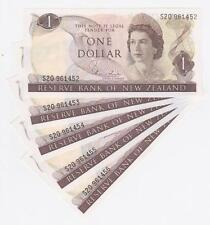 5 Consecutive 1980's New Zealand $1.00 Banknotes Hardie UNC - S20 961452/56