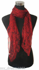 Beautiful New 100% Silk Red Rose Flowers Print Thin Soft Neck Scarf Shawl
