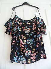 "PRIMARK - Stunning Black ""Chiffon Style"" Cold Shoulder Fril Blouse Size 20 bnwts"