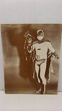 """11"""" x 14"""" Adam West as Batman w/Bat-Megaphone Sepia B&W Picture 1960's Era"""
