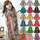 Fashion Women Cotton Linen Beautiful Rural Style Flower Long Silk Scarf Shawl YX
