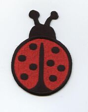 Iron On Embroidered Applique Patch Large Red/Black Ladybug Lady Bug