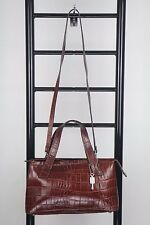 FOSSIL BROWN EMBOSSED LEATHER SHOULDER  TOTE BAG