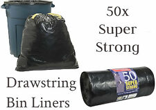 50 SUPER STRONG BLACK REFUSE SACKS DRAWSTRING RUBBISH BAG BIN LINERS DRAW STRING