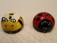 TWO KITCHEN TIMERS - AVON BUSY LITTLE BEE & KIKKERLAND LADYBUG 1 TO 60 MINUTES